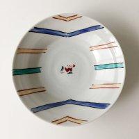 赤地健:フチ線中花文皿