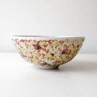 赤地健:黄紫花詰鳥文小鉢