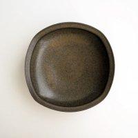 二川修:しかく5寸鉢 茶